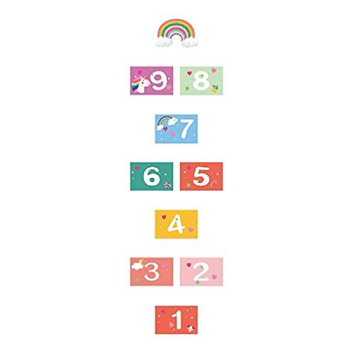 10pc Jogo da amarelinha com número do Dia das Bruxas Adesivo de parede de grade de piso de malha para aumentar as habilidades motoras brutas Adesivo de parede de jardim de infância