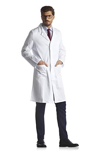 TECNO HOSPITAL Camice 100% Cotone, Medico, FISIOTERAPISTA, Infermiere, Laboratorio (Bianco, 54)