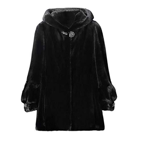 NQSB Cappotto in Pelliccia di Visone Sintetico Donna Invernale Sciolto Medio Lungo con Cappuccio Cappotto A Maniche Lunghe in Velluto Visone Caldo Cappotti Donna