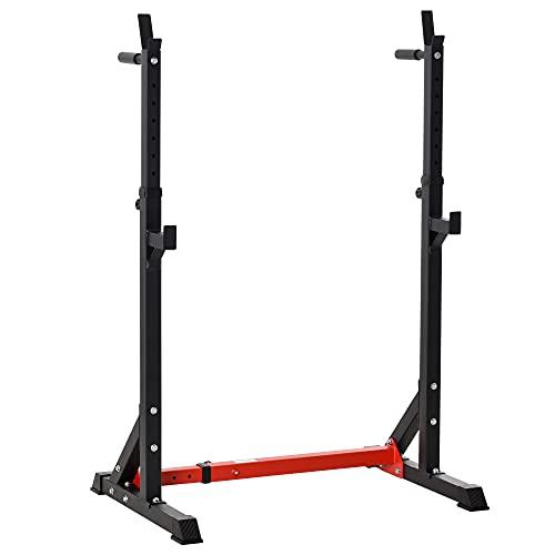HOMCOM Soporte Ajustable para Barras de Pesas Estante Soporte Multifuncional para Ejercicios en Hogar y Oficina Carga 150 kg Altura Regulable de 121-171 cm Negro y Rojo