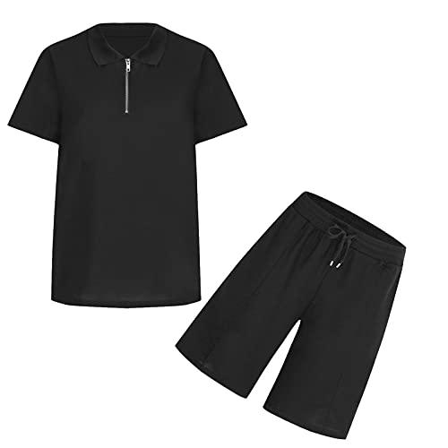 2 piezas para hombre, verano, ocio, camiseta Henry y cordón elástico en la cintura, caqui, S