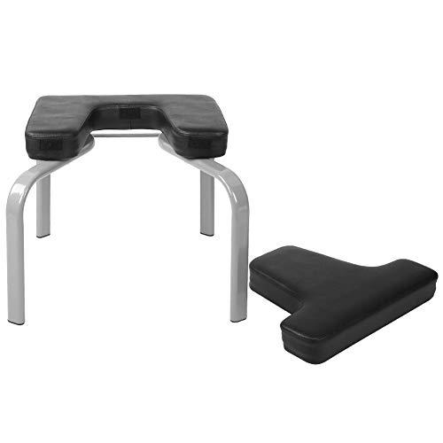 Silla de yoga con soporte de mano, banco de ejercicio, material de metal duro, tabla de inversión, uso múltiple, diseño ergonómico suave de poliuretano para entrenamiento de equilibrio de fuerza