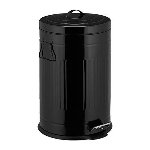 Relaxdays Cubo Basura Pedal Retro con Cubo Interior para Baño y Cocina, Acero Inoxidable y Plástico, Negro, 20 L