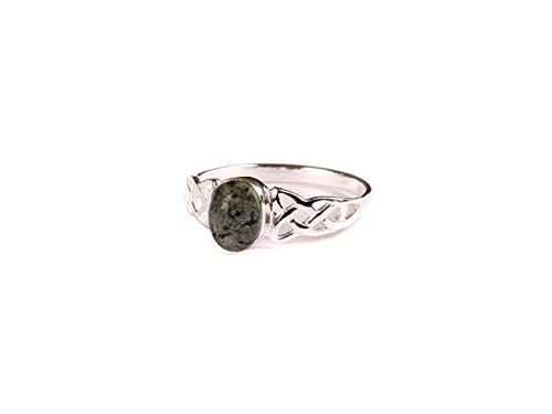 Celtic Desire Jewellery Connemara Ring aus Marmor mit Dreifaltigkeitsknoten, Silber