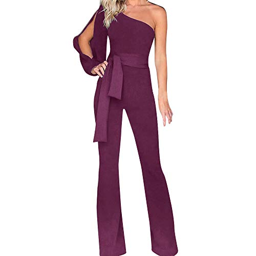 RISTHY Mujeres Monos de Vestir Mujer Un Hombro Largos Elegante Cintura Alta Bodysuit Verano Pantalones Acampanados Monos De Fiesta Playa Clubwear Playsuits Vendaje Jumpsuits