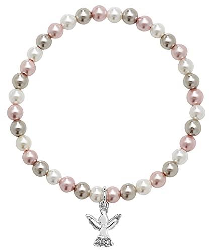 Aeon Pulsera elástica de perlas de plata de ley con colgante de ángel de la primera comunión para niñas, regalo para niños y niñas