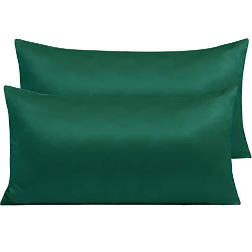 NTBAY Funda de Almohada de Satén con Cremallera, Paquete de 2 Fundas de Almohada Súper Suaves, 50x90cm, Verde Oscuro