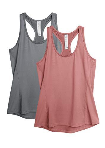icyzone Camiseta de tirantes para mujer, 2 unidades, deportiva, espalda cruzada, para...