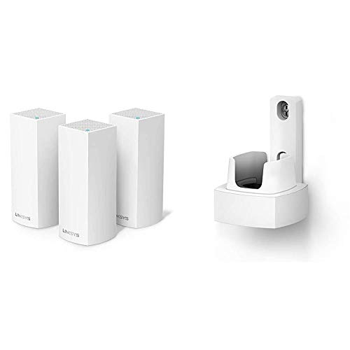 Linksys WHW0303 Velop Tri-Band Mesh-WLAN-System (AC6600 WLAN-Router/WLAN-Extender, 3er-Pack, Weiß) & WHA0301 Velop Wandhalterung für das grenzenlose WLAN-Mesh-System (Node-Halter, 1er-Pack, Weiß)