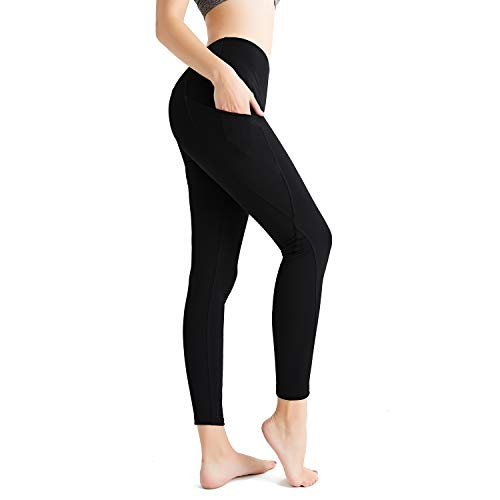 StarLifey High Waist Yoga Pants for Women, Pockets Workout Running Capri Leggings Pants with Tummy Control Non See Through(2 Pack-Black)