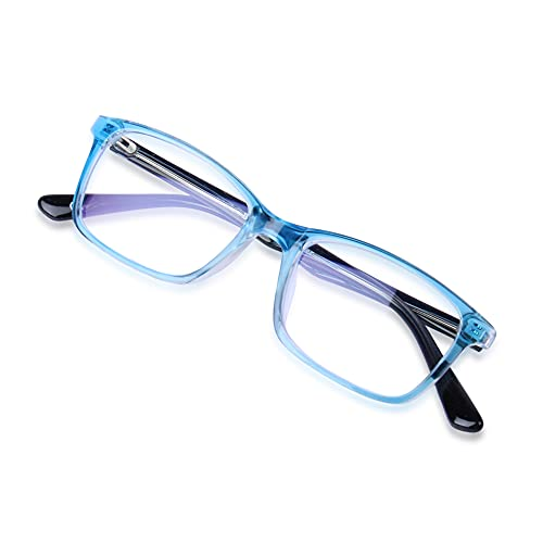 Eyevy® Kids Zero Power Blue light blocking Computer glasses - UV Protected Spectacles | Transparent Reading Eyeglasses | Rectangle Polycarbonate frame - For Boys and Girls Aged 6 to 10 (Blue)