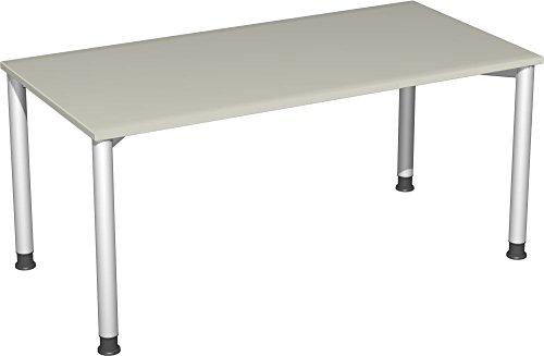 Preisvergleich Produktbild Gera Möbel 4 Fuß Flex Schreibtisch,  Holzdekor,  lichtgrau / Silber,  160 x 80 x 72 cm