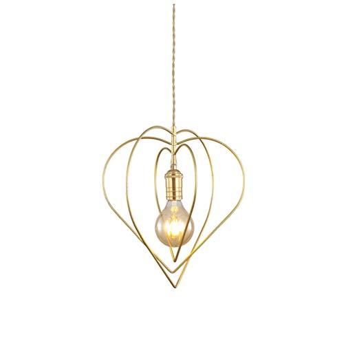 LF- Led lámpara de Apartamento Pequeño Salón Comedor Dormitorio de la lámpara de Cristal Simple Hierro Forjado decoración del hogar de la lámpara (Color : Gold)
