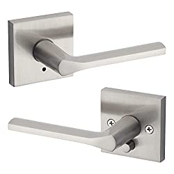 Kwikset 91550-022 Lisbon Door Handle Lever with Modern Contemporary Slim Square Design for Home Bedroom or Bathroom Privacy In Satin Nickel