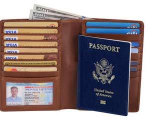 RFID Blocking Luxury Card Case Travel Leather Wallet Passport