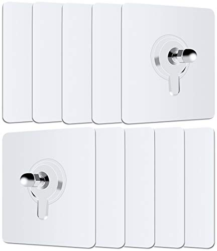 10 Pack Adhesive Screws Wall Mount Hanging Nails No-Trace No Drilling Stick-on Sticky Screw for Bathroom Kitchen Storage Room Tile Wall Shower Room