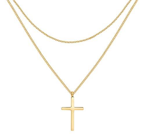 Happiness Boutique Damen Kreuz Kette in Goldfarbe | Zarte Mehrreihige Kette mit Kreuz Anhänger Edelstahlschmuck