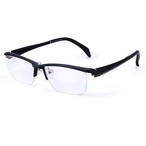 Glass anti-vermoeidheidsleesbril voor mannen met zwart halfrond, TR90 ultralichte en comfortabele sportbril geschikt voor gebruik bij oudere mensen Presbyopie