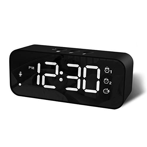 Sveglia Digitale con Grande Display LED, Orologio a Specchio con Doppio Allarme