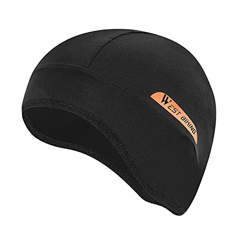 F Fityle Sport Skull Cap Hat Anti-UV Cycling Fits under Helmets Running MTB Bike Head Beanie Headband Headwear - black