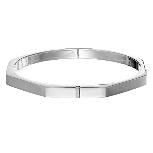 Silverly Octágono Geométrico Pulsera Brazalete Rígido Articulado de Mujer en Plata de Ley .925