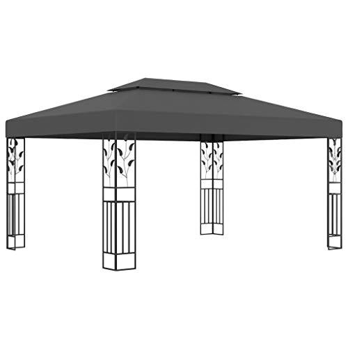 vidaXL Pavillon mit Doppeldach Witterungsbeständig Gartenzelt Partyzelt Festzelt Gartenpavillon Bierzelt Garten 3x4m Anthrazit Stoff Stahl