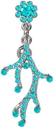Blue Zircon Paved many gem Unique weird branch vine Reverse Top Mount Belly navel Belly button navel piercing bar body jewelry 14g