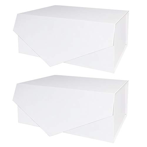Gift Box, 9.5x7x4 Inches 2 Gift Boxes with Lids, Fold Box Paper Bridesmaids Proposal Box for Gift, Birthday, Party, Christmas, Sturdy Storage Box, Collapsible with Magnetic Closure (White 2Pack)
