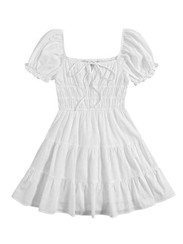 SheIn Women's Short Puff Sleeve Ruched Mini A Line Dress Ruffle Tie Front Square Neck Short Dresses White X-Small