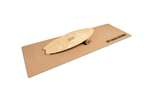 Indoorboard Wave Set Balance Board Skateboard Surfboard Balanceboard (Raw Wood, 150 mm x 45 cm (Ø x L))