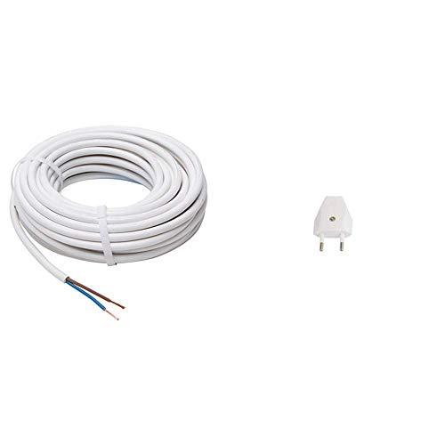 Kopp Schlauch-Leitung 2 adrig, H03 VV-F 2G0,75mm² (10m) für flexible Verlegung, 300V/500V, Strom-Kabel für Trockenraum, weiß, 151510843 & Bachmann Eurostecker, 900003