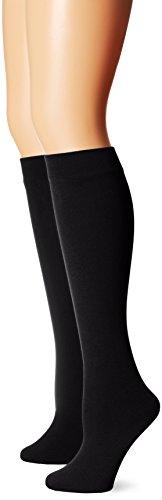 Muk Luks Women's Fleece Lined 2-Pair Pack Knee High Socks, Black/Black, Small/Medium