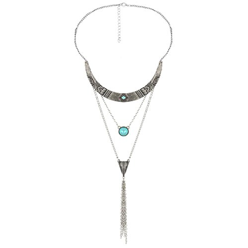 YAZILIND Mujeres 2016 Idea Regalo de la joyería de la Turquesa de la Vendimia del Collar del Grano Largo de múltiples Capas