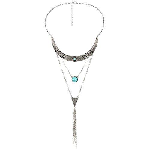 Yazilind Mujeres 2016 collar de plata de múltiples capas de la vendim