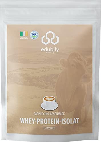 edubily® Whey Protein Isolat aus irischer Weidehaltung • Sehr gut lösliches Eiweißpulver ohne Kohlenhydrate & Zucker • Laktosefrei • 750 g (Cappuccino)