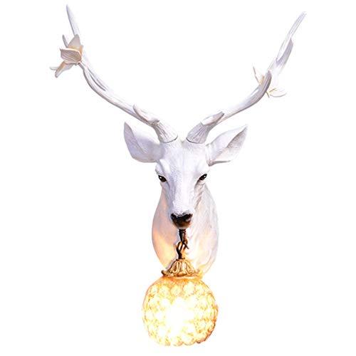 Decoración de Ciervos de Pared Sala de Estar TV Pared de Fondo Luces Decorativas Retro Pasillo Pasillo Escalera lámpara de Pared (Color : Blanco, Size : 41 * 56cm)