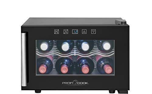 Proficook GK 1162 Vinoteca 8 botellas enfriamiento termoeléctrico, 21 litros, ajuste electrónico de la temperatura, panel táctil, display, luz interior, Clase Climática N, Clase energética A