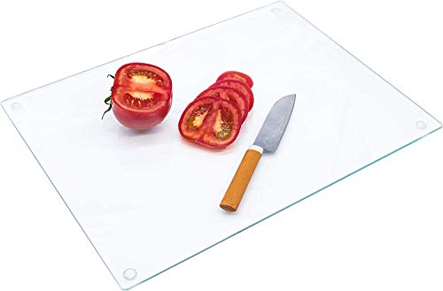 Glass Cutting Board,16 X 12-inch, Tempered Glass, Shatterproof, Clear glass 40cmX30cm Exact Size 15.75'X11.81'