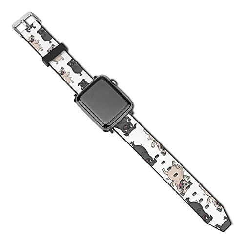 Xiaoxian Dancing Carlino Pattern Sostituire il classico cinturino Apple Watch di iWatch serie SE 6/5/4/3/2/1, colore: nero-Dancing Pug Pattern2