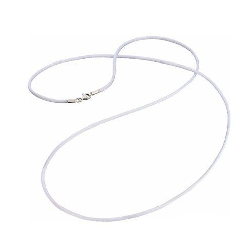 Engelsrufer Weißer Satin Kette für Damen rhodiniertes 925er-Sterlingsilber Länge 80 cm