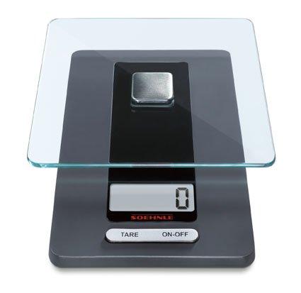 Soehnle digitale Küchenwaage Fiesta mit großer LCD-Anzeige, Digitalwaage mit praktischer Zugwiegefunktion, die Haushaltswaage für 1-g-genaue Teilung