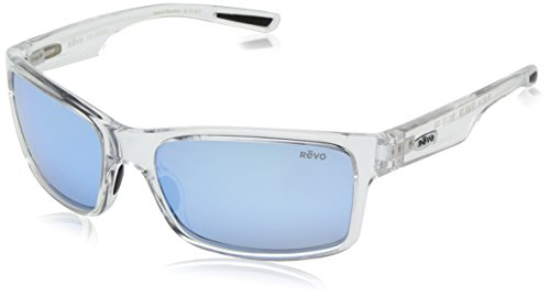 Revo Polarized Sunglasses Crawler Rectangle Rectangular, Clear Crystal Frame, Blue Water Lens