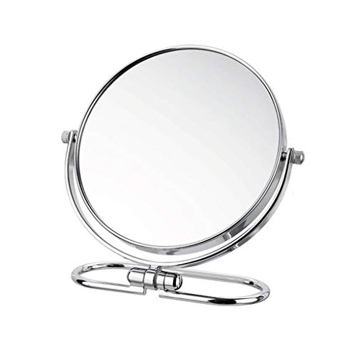 Miroir de maquillage- Miroir de maquillage mural double face Miroir portatif de bureau Miroir portatif (Color : Silver, Size : 14.7x18cm)