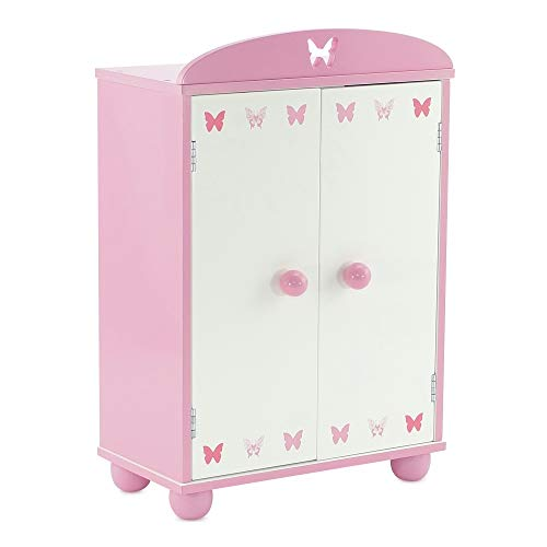 Emily Rose 14 Inch Doll Furniture | Beautiful Pink and White Doll Armoire Closet with Butterfly Detail Comes with 5 Notched Doll Clothes Hangers | Fits American Girl Wellie Wishers Dolls