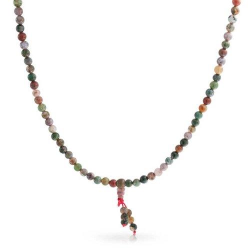 Bling Jewelry Marrón Tierra Piedra Multicolor Color Jasper Mala oración Perla Largo Collar para Las Mujeres envuelven Pulsera de Estiramiento para Las Mujeres para los Hombres