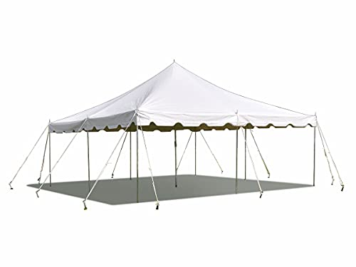 20 Foot x 20 Foot Weekender Canopy Pole Tent | White | Outdoor Short Term Gazebo | 33-80 Person Capacity | for Parties, Weddings, and Events