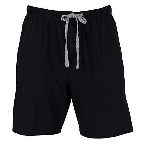 Hanes Men's Jersey Knit Cotton Button Fly Pajama Sleep Shorts, Small, Black