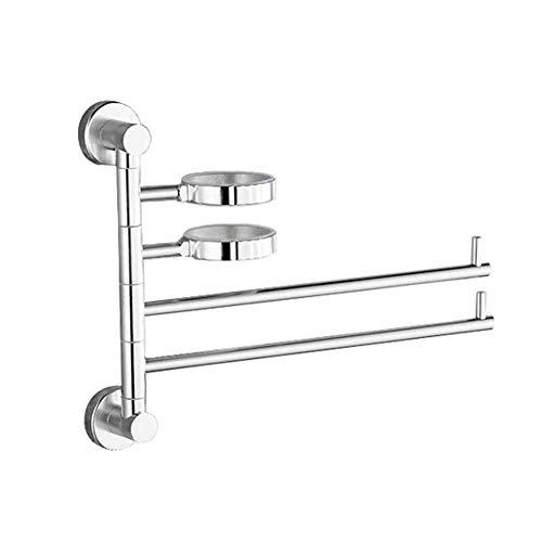 Toallero plegable, Suspensión giratoria de la toalla del cuarto de baño con 2 barras del eslabón giratorio, tenedor de aluminio montado en la pared de plata de la toalla del lavabo,Plata