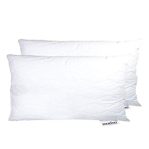 Merino-Betten Hochwertiges Kopfkissen 65x100 Set | Schlafkissen | Innenkissen mit verstepptem Bezug (weitere verfügbar) Serie Wolke