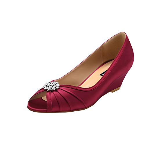 ERIJUNOR E2019A Women Comfortable Low Heel Wedges Peep Toe Wedding Shoes Burgundy Size 7